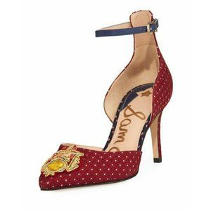 Sam Edelman Red Blue Gold Embroidered Stars Tabby 2 Pumps